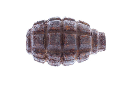Soviet combat grenade from World War II on a white background