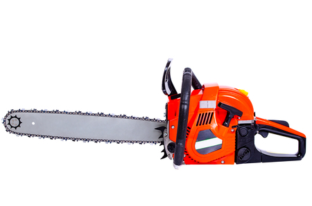 Chainsaw tool on white background close-up