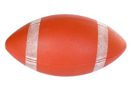 American football ball on white background close-up