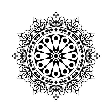 Mandala. Vecteur de motif d'ornement circulaire rond. élément décoratif vintage. Islam, motifs arabes, indiens, ottomans. Vecteurs