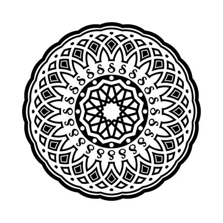 Circular pattern in form of mandala. Henna, Mehndi, tattoo, decoration, Islam, Arabic, Indian, turkish, pakistan, chinese, ottoman motifs