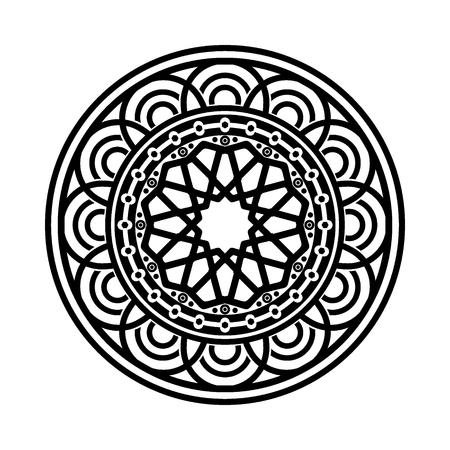 Motif circulaire en forme de mandala. Henné, Mehndi, tatouage, décoration, Islam, arabe, indien, turc, pakistanais, chinois, motifs ottomans