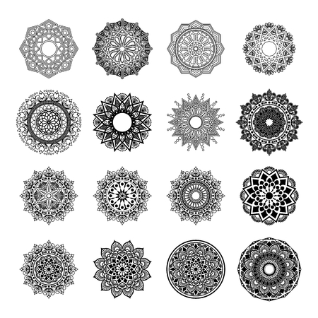 Patrón circular en forma de mandala. Henna, Mehndi, tatuaje, decoración, Islam, árabe, indio, turco, pakistán, chino, motivos otomanos