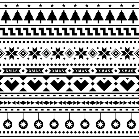 Merry Christmas Seamless Pattern Vector. Xmas Aztec shape and geometry design tribal. Aztec, Inca, Egypt, Indian, Scandinavian, Gypsy, Mexican, folk tradition ornament. 1