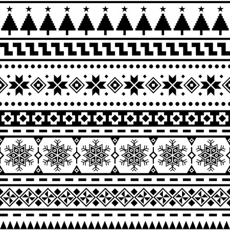 Merry Christmas Seamless Pattern Vector. Xmas Aztec shape and geometry design tribal. Aztec, Inca, Egypt, Indian, Scandinavian, Gypsy, Mexican, folk tradition ornament. 2