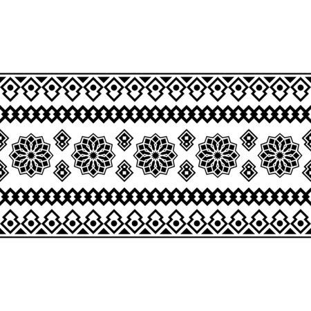 Stripe Etnic Pattern in black and white color. BW Tribal Aztec Pattern Ilustrace