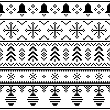Merry Christmas ethnic Pattern. tribal xmas event design illustration vector. christmas design black white color. Stock Illustratie