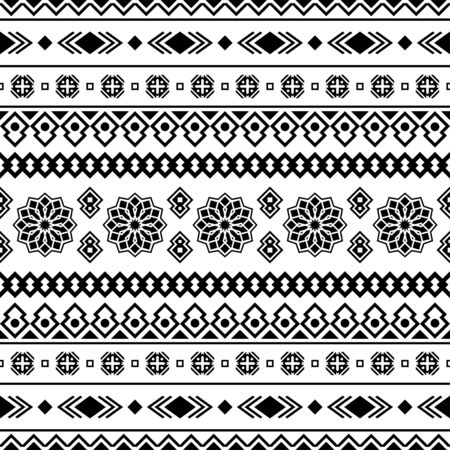 Seamless Etnic Pattern in black and white color. BW Tribal Aztec Pattern