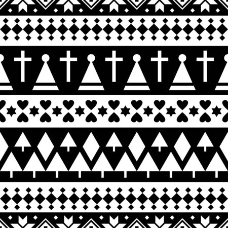 Merry Christmas Seamless Pattern Vector. Xmas Aztec shape and geometry design tribal. Aztec, Inca, Egypt, Indian, Scandinavian, Gypsy, Mexican, folk tradition ornament Stock Illustratie