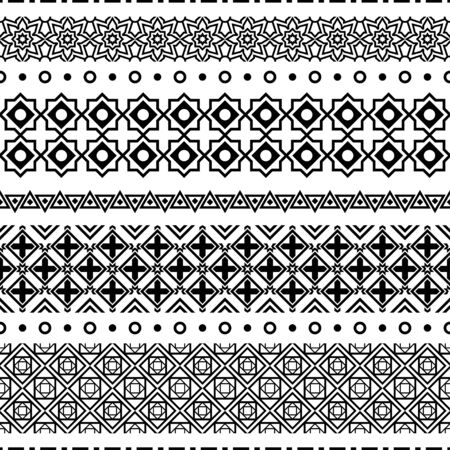 Ornement folklorique géométrique Ikat. Motif rayé sans couture Texture vecteur ethnique tribal dans le style aztèque. Broderie tribale de la figure indienne.