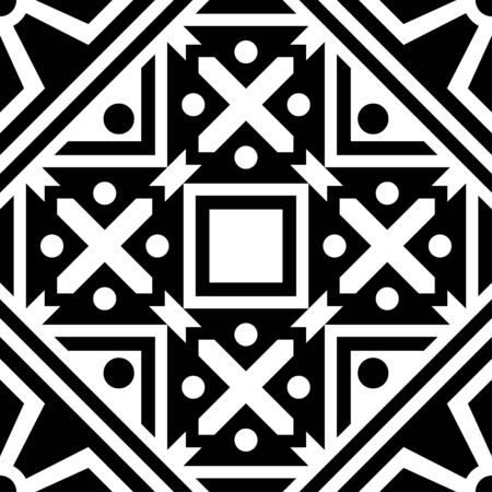 Islamic Seamless Pattern Design with turkish and moroccan ornament vector in black and white color