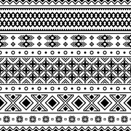 Ikat Ethnic Seamless Aztec Pattern Illustration Design black white color, Ikat, geometric pattern, native Indian, Navajo, Inca