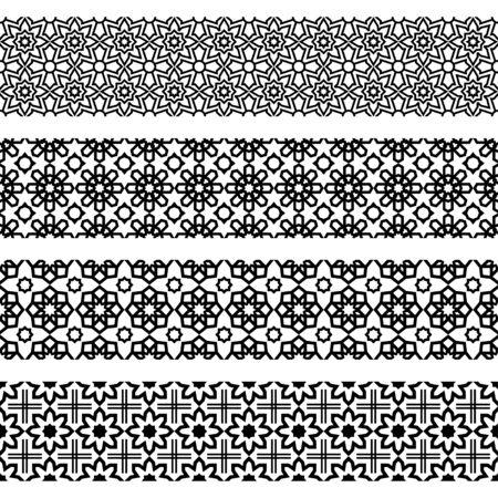Persian ethnic pattern islamic design black white color