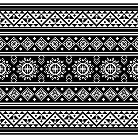 Stripe ethnic seamless pattern. Aztec, peruvian, mexican design Illustration vector in black and white color. eps 10