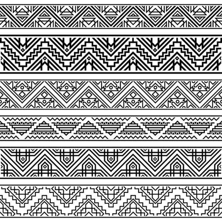 Set Tribal geometric ethnic pattern. Ikat illustration design vector. Aztec, inca, navajo background. EPS 10  イラスト・ベクター素材