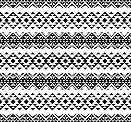 Seamless ethnic pattern in black and white color. Aztec tribal vector design  イラスト・ベクター素材