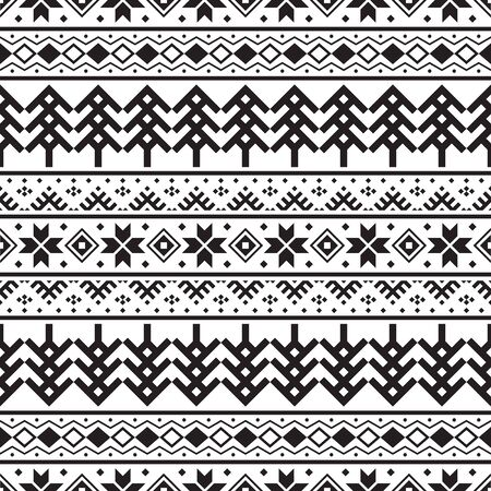 Geometric Christmas Ethnic pattern on white background. Ornament. Border. Seamless sample. It can be used as a background. Vector illustration