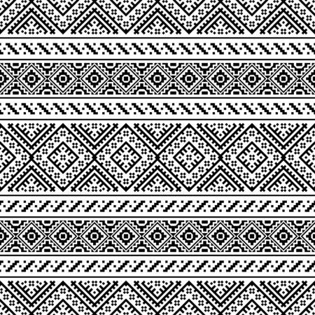 Ikat Ethnic Aztec Pattern Illustration Design in black and white color. design For Background, Frame, Border or Decoration. Ikat, geometric pattern, native Indian, Navajo, Inca Design