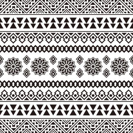 Ikat Ethnic Aztec Pattern Illustration Design en noir et blanc. conception pour le fond, le cadre, la bordure ou la décoration. Ikat, motif géométrique, indien indigène, Navajo, Inca Design