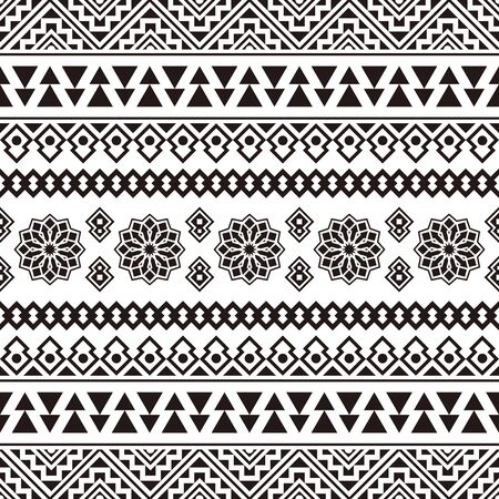 Ikat Etniczny wzór Azteków Ilustracja Design w kolorze czarno-białym. projekt tła, ramki, obramowania lub dekoracji. Ikat, wzór geometryczny, rodowity Indianin, Navajo, Inca Design