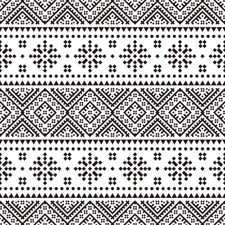Seamless Ethnic Pattern in black and white color. Black White Tribal Aztec Pattern 向量圖像