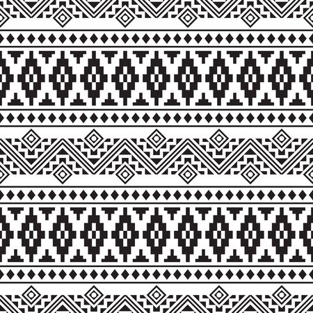 Seamless Ethnic Pattern in black and white color. Tribal Aztec Pattern