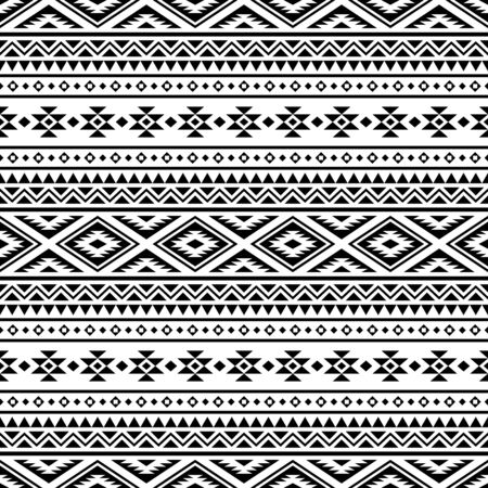 Seamless ethnic pattern. Traditional tribal pattern in black and white color Vetores