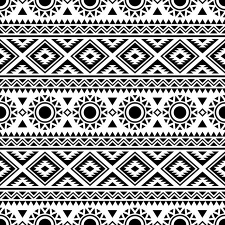 Seamless ethnic pattern. Traditional tribal pattern in black and white color