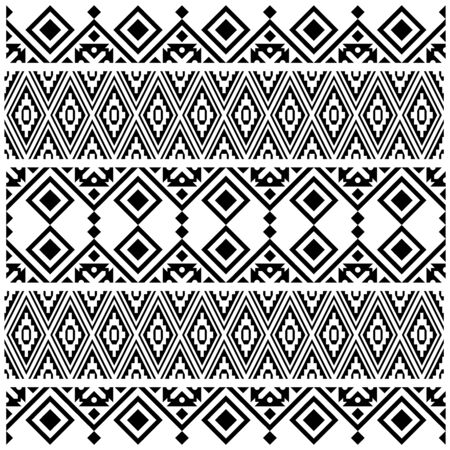 Aztec Ikat ethnic pattern vector in black and white color
