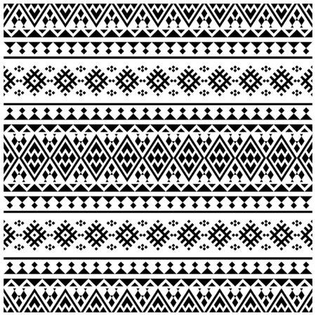Aztec Ikat ethnic pattern vector in black and white color. Seamless Ethnic Pattern background texture Ilustracje wektorowe