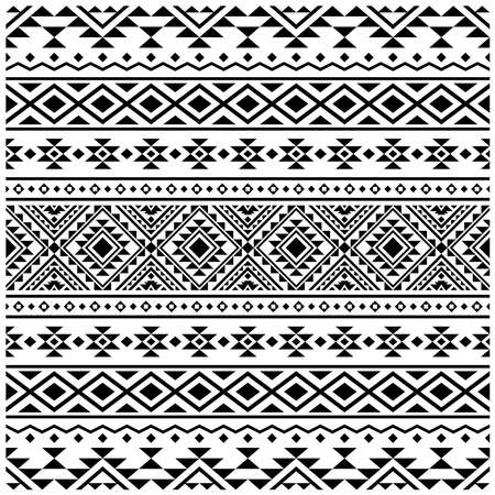 Aztec ethnic seamless pattern design in black and white color. Ethnic Illustration vector