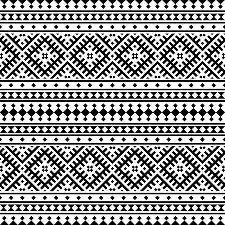Seamless Ethnic Pattern Illustration vector with tribal design in black and white color