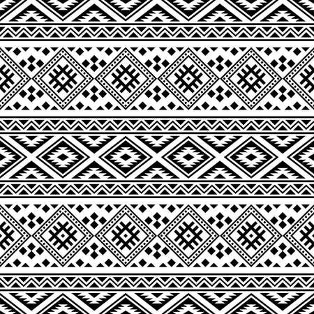 Ikat Ethnic Aztec Pattern Illustration Design in black and white color. design For Background, Frame, Border or Decoration.