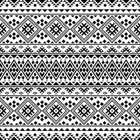 Ikat ethnic pattern vector black white color. Tribal Pattern. Aztec design boho rug, fabric, blanket and backdrop 向量圖像