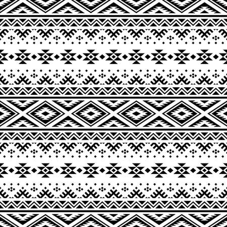 Ikat ethnic pattern vector in black and white color. Tribal Pattern. 向量圖像
