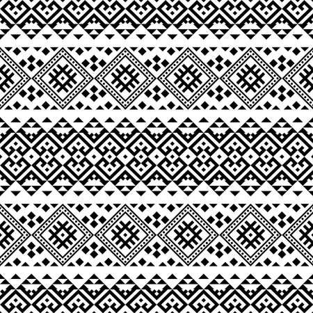 Ikat Ethnic Aztec Pattern Illustration Design in black and white color. design For Background, Frame, Border or Decoration. Vector Illustration