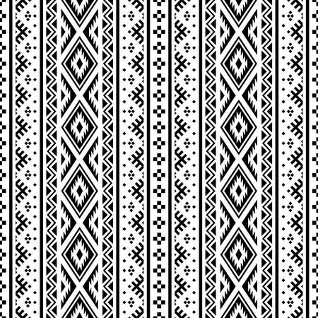 Aztec seamless ethnic pattern texture background in black white color