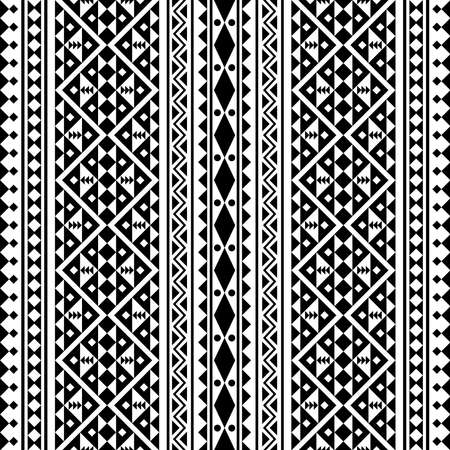 Seamless ethnic pattern vertical design in black white color Ilustrace