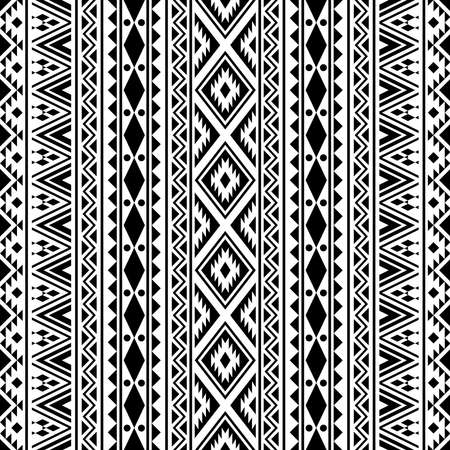 Ethnic seamless pattern tribal style texture background in black and white color