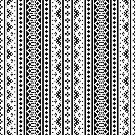 Seamless ethnic pattern vertical design in black white color 向量圖像