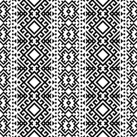 Aztec ethnic seamless pattern design in black and white color. Ethnic Illustration vector. 向量圖像