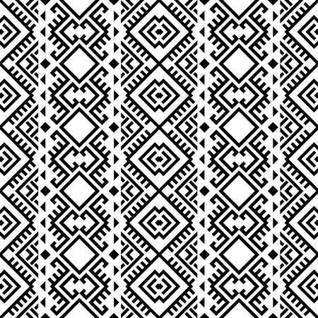 Aztec ethnic seamless pattern design in black and white color. Ethnic Illustration vector. Vettoriali