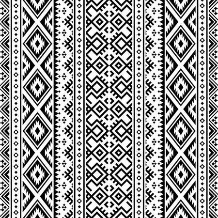 seamless ethnic pattern texture design in black white color Ilustração