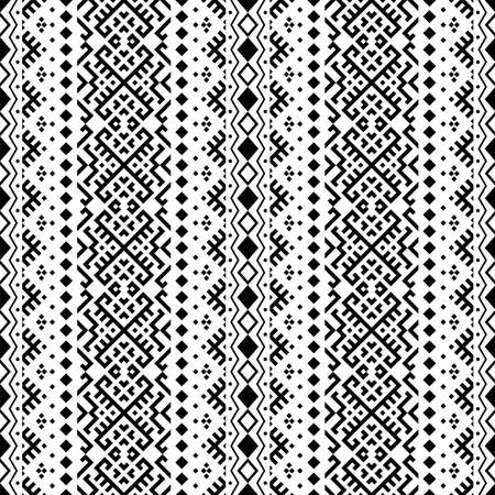 Traditional seamless ethnic pattern in vertical style texture design vector in black white color Ilustração