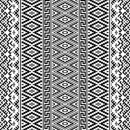 Monochrome vertical seamless ethnic pattern texture background design vector