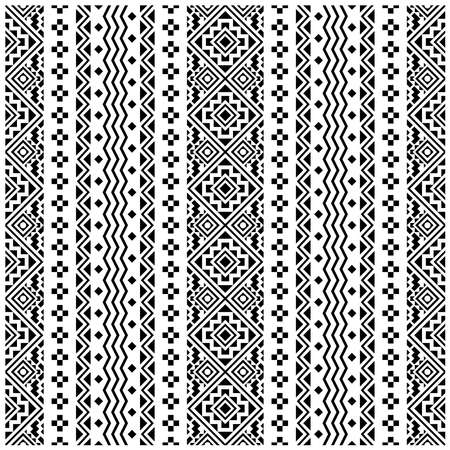 Seamless Ethnic Pattern Illustration vector with tribal design in black and white color Vektorové ilustrace