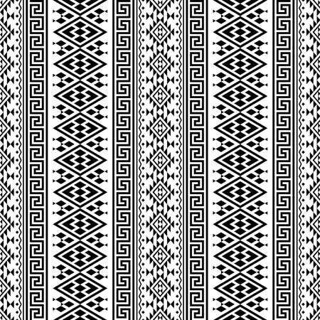 Seamless ethnic pattern texture background design in black white color