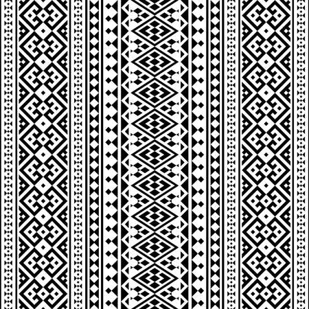 Aztec ethnic seamless pattern design in black and white color. Ethnic Illustration vector.