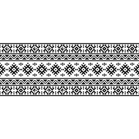 Stripe ethnic aztec pattern texture background design vector in black white color 向量圖像