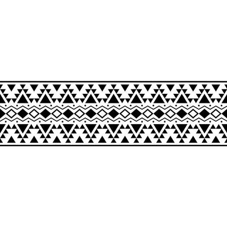 Stripe ethnic aztec pattern motif texture background in black white color